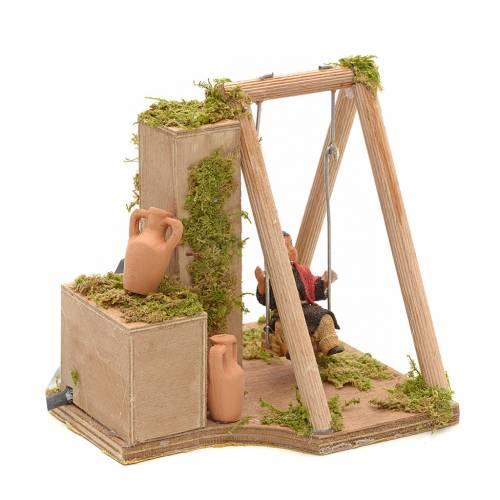 Animated nativity scene, child on swing 12 cm s3