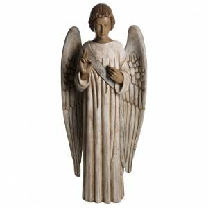 Annunciation Angel statue in painted Bethléem wood 100cm s1