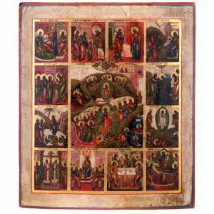 Antique icon 'The 12 great feasts of the liturgical year&#0 s1