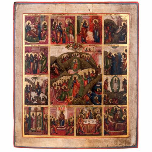 Antique icon 'The 12 great feasts of the liturgical year&#0 1
