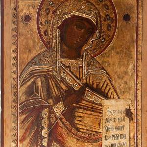 Antique Russian icon, Our Lady of Deesis XVIII century s2