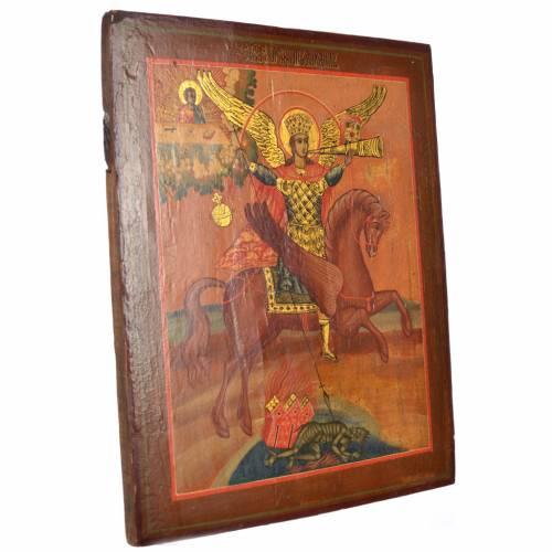Antique Russian icon, Saint Michael Archangel XIX century s2