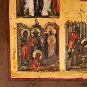 Antique Russian icon, Sixteen Great Feasts, Mstjora XIX century s4