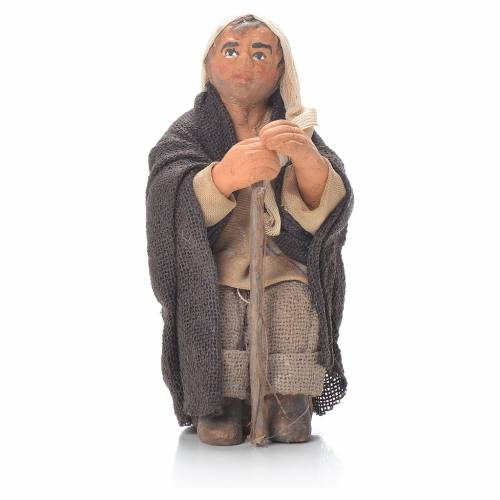 Anziano con bastone 10 cm presepe napoletano s1