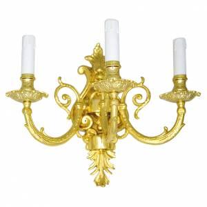 Applique barocco in ottone fuso a 3 luci s1