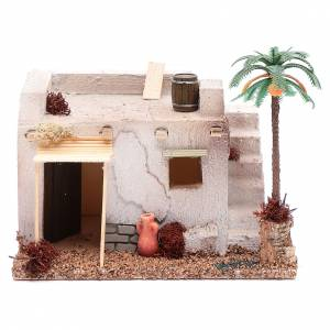 Settings, houses, workshops, wells: Arabian house with palm and awning in polystyrene  20x15xh.15 cm