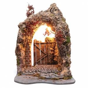 Neapolitan Nativity Scene: Arched door made in bark for Neapolitan nativity scene 71X50X50 cm