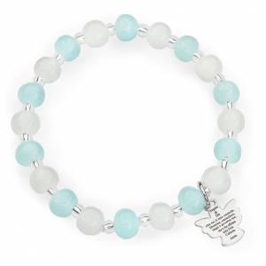 Armbänder AMEN: Armband AMEN für Kinder Perlen Murano Glas hellblau und weiss
