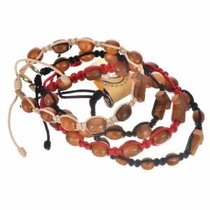 Medjugorje Armbänder: Armband Medjugorje Olivenholz und Tau Kreuz