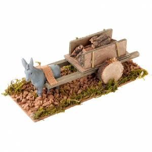 Animali presepe: Asinello con carretto carico di legno presepe 8 cm