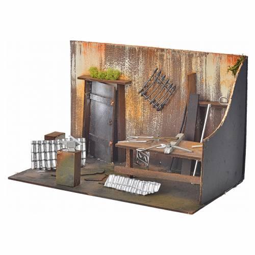 Atelier du forgeron en miniature pour crèche 20x33x18 s3