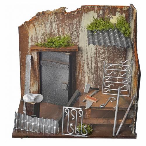 Atelier forgeron crèche 20x14x20 cm s1