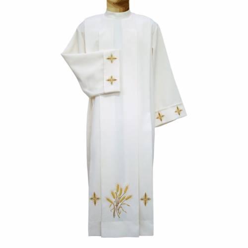 Aube liturgique ivoire épis et croix 4 plis s1