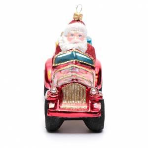 Babbo Natale su auto addobbo vetro soffiato Albero Natale s4