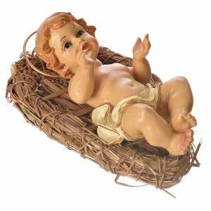 Baby Jesus figurine in straw cradle 25cm s3