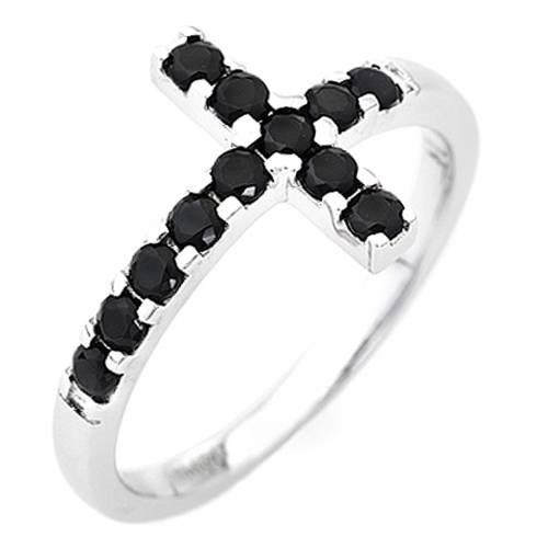 Bague AMEN croix argent 925 blanc zircons noirs s1
