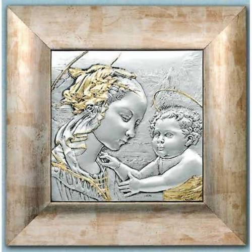 Bajorrelieve de plata y oro Virgen y niño con aureola s1