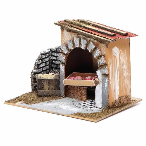 Baker's shop for nativities measuring 14x20x14cm s2