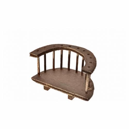 Balcone tondo legno presepe 6,5x3,5x6,5 cm s2