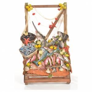 Cibo in miniatura presepe: Banco pescivendolo in cera 20x22x40 cm