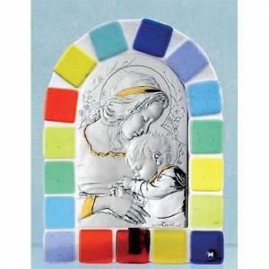 Bas reliefs en argent: Bas-relief argent Vierge avec enfant cadre en verre coloré