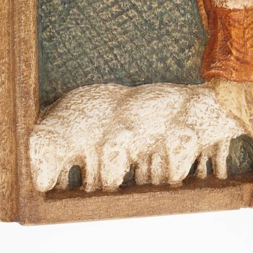 Bas relief bergers Crèche d'Autun bois peint s4