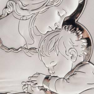 Bas reliefs en argent: Bas relief en argent , mère avec enfant qui dort, 11X14