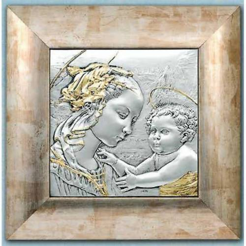 Bas-relief in sterling silver and gold, Our Lady and baby s1