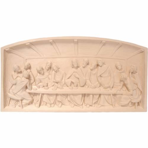 Bas-relief, Last Supper 12x23 in natural wax Valgardena wood s1