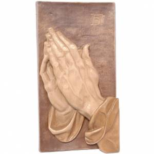 Various bas reliefs: Bas-relief with joined hands, multi-patinated Valgardena wood