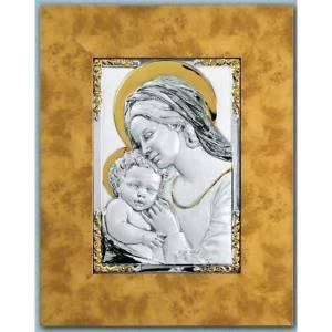 Silber Basreliefs: Basrelief Gottesmutter mit Kind Silber 925 und Gold auf Holz