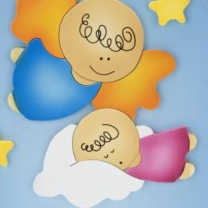 Sonstige Basreliefs: Basrelief-Tafel Engel mit schlafendem Kind, oval