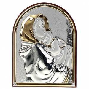 Bassorilievo bilaminato oro arg. Madonna Ferruzzi ovale base dri s1