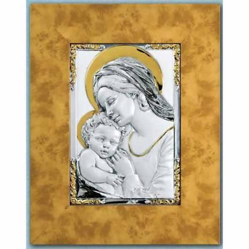Bassorilievo Madonna bambino argento 925 oro su legno s1