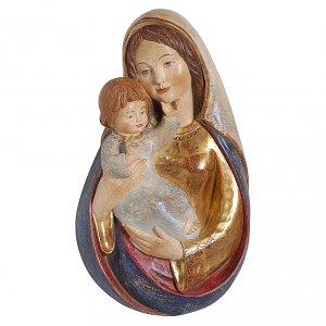 Bassorilievo Madonna classica 40 cm legno Valgardena oro zecchino antico s1
