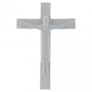 Bassorilievo Pinton porcellana bianca crocifisso tunicato 25X17 cm s1