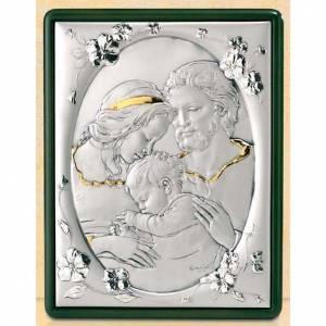 Bassorilievo Sacra Famiglia e fiori argento e oro s1