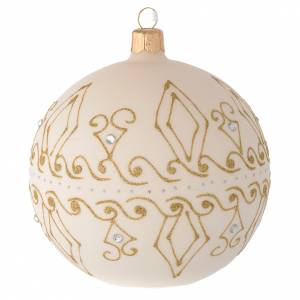 Christmas balls: Bauble in beige blown glass with gold decorations 100mm