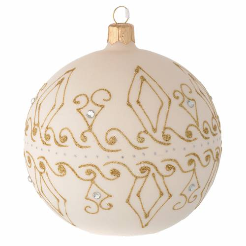 Bauble in beige blown glass with gold decorations 100mm s1