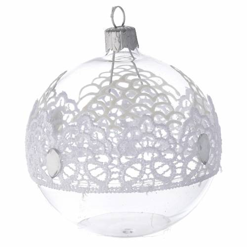 Bauble in blown glass with lace decoration 80mm s2