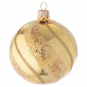 Christmas balls: Bauble in gold blown glass with glitter decoration 80mm