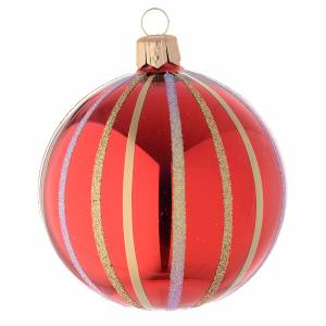 Bauble in red and gold blown glass 80mm s2