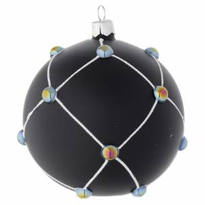 Bauble in satin black blown glass with stones 100mm s2