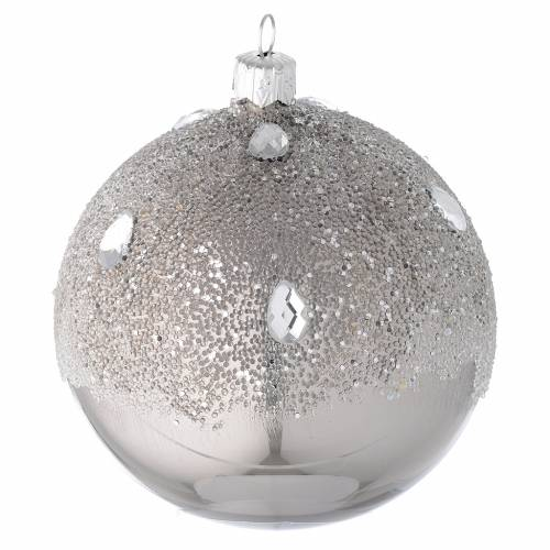 Bauble in silver blown glass with ice effect decoration 100mm s1