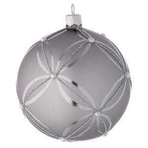 Bauble in silver blown glass with shiny and opaque decoration 100mm s1