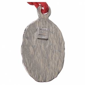 Bi-coloured Lourdes medal in silver with red cord s2
