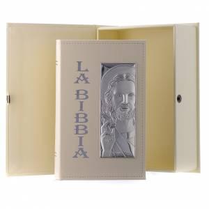 Bomboniere e ricordini: Bibbia in similpelle écru immagine Gesù in bilaminato argento