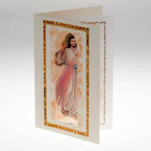 Biglietto augurale con pergamena Gesù Misericordioso s2
