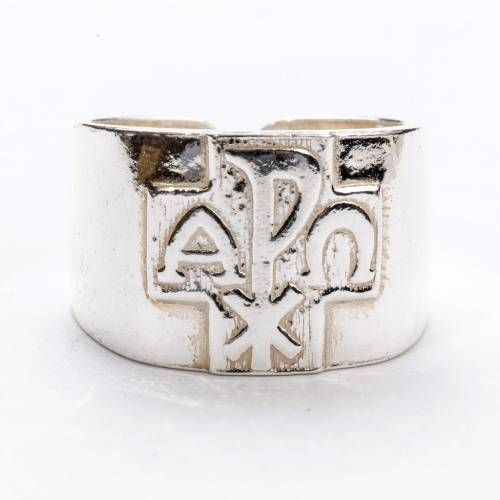 Bishop Ring with Chi-Rho, Alpha and Omega in silver 800 s3