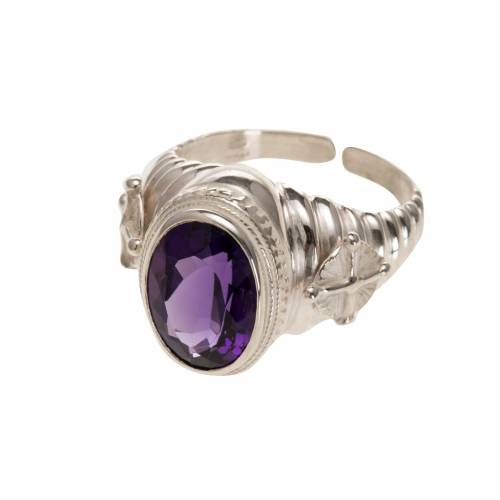 Bishop's ring made of 800 silver with amethyst s1